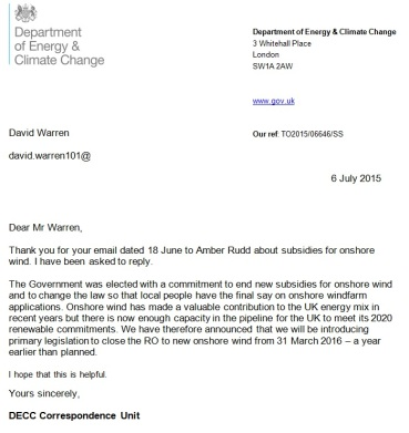 DECC to David WARREN 06-Jul-2015